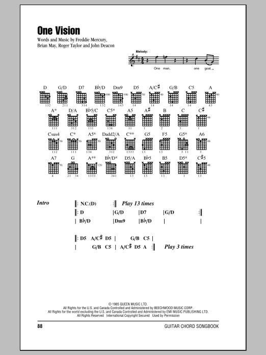 One Vision (Guitar Chords/Lyrics)
