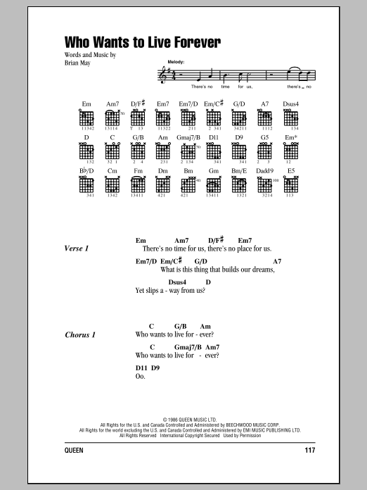 Who Wants To Live Forever Sheet Music