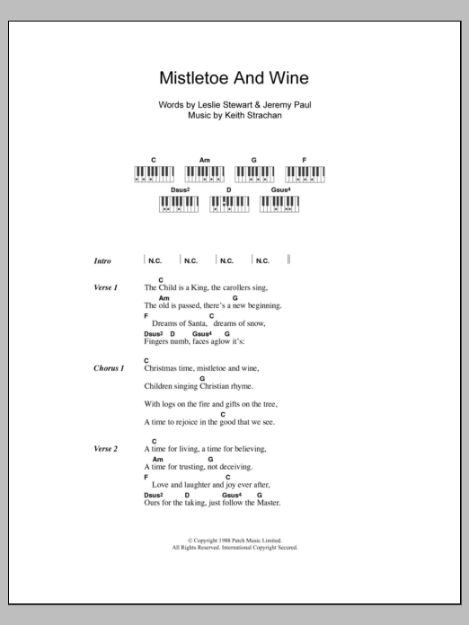 Mistletoe And Wine Sheet Music Cliff Richard Lyrics Piano Chords