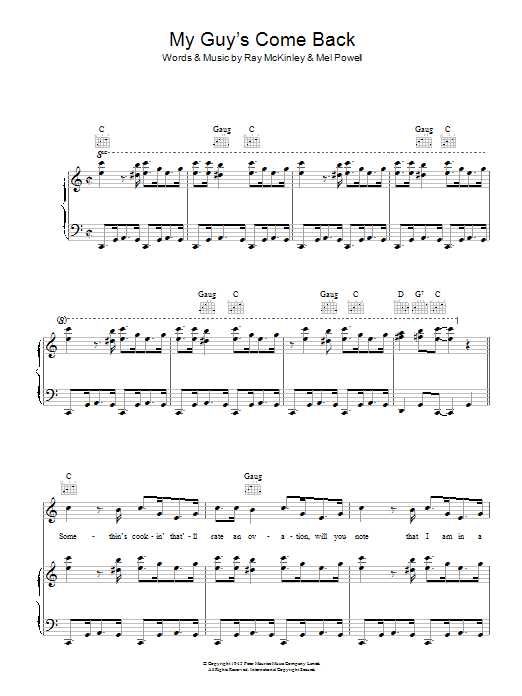 My Guy's Come Back Sheet Music