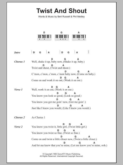 Twist And Shout Sheet Music The Beatles Lyrics Piano Chords