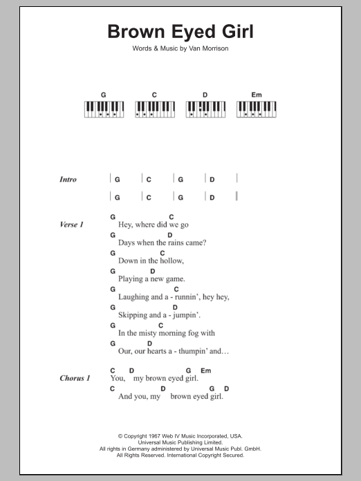 Ukulele ukulele tabs van morrison : Brown Eyed Girl | Sheet Music Direct
