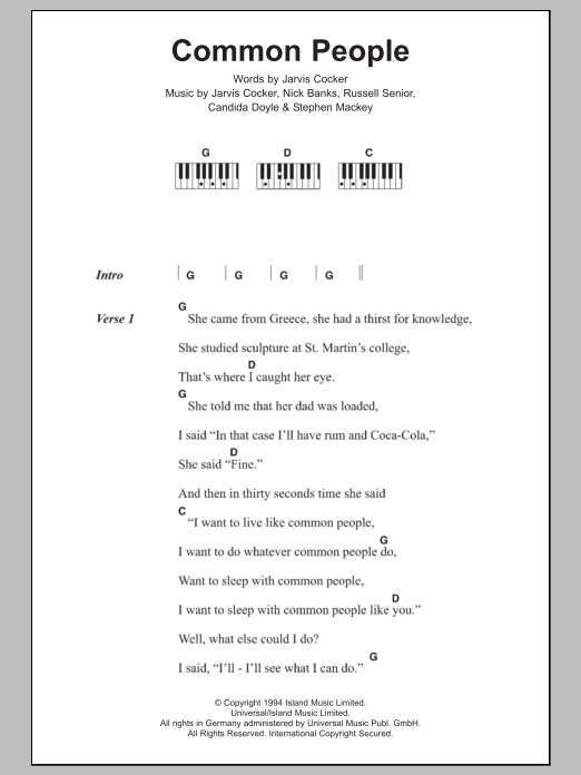 Common People Sheet Music Pulp Lyrics Piano Chords