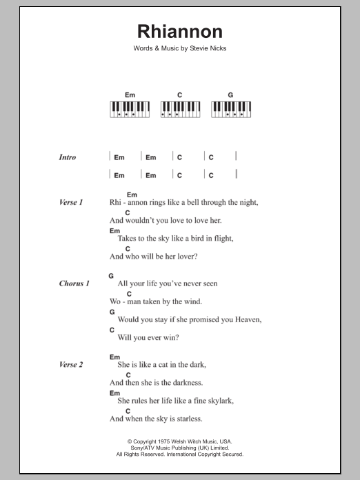 Rhiannon Sheet Music Fleetwood Mac Lyrics Piano Chords