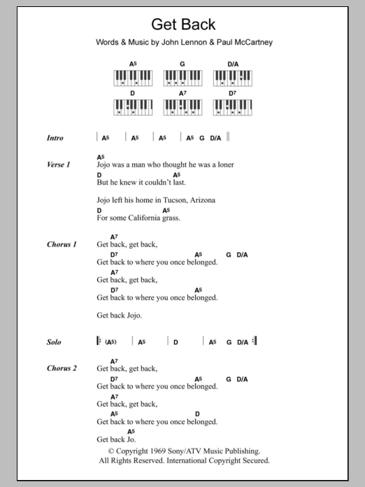 Get Back Sheet Music The Beatles Lyrics Piano Chords