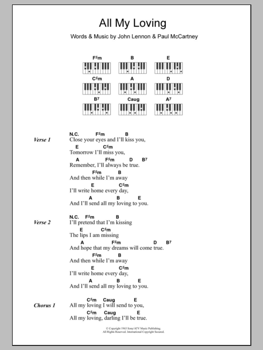 All My Loving | Sheet Music Direct