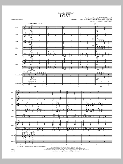 Lost! (COMPLETE) sheet music for orchestra by Robert Longfield and Coldplay. Score Image Preview.