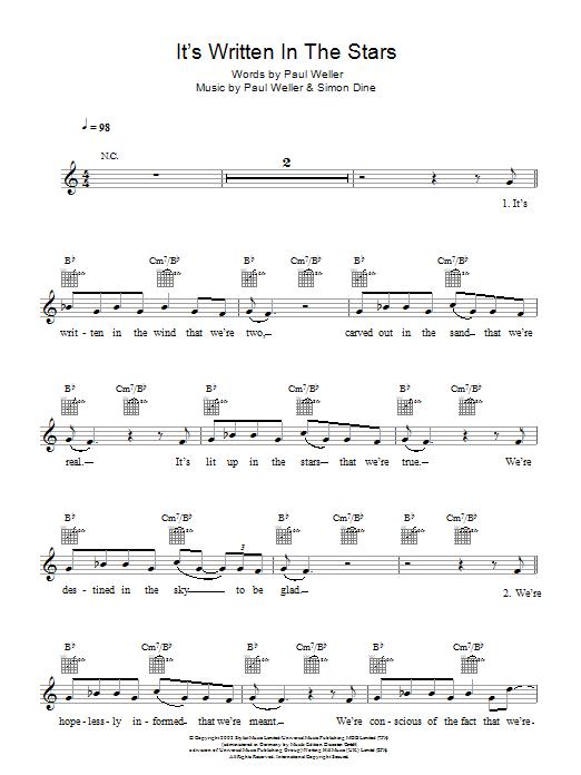 It's Written In The Stars Sheet Music