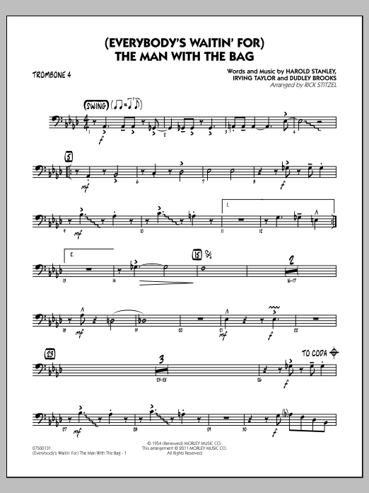 (Everybody's Waitin' For) The Man With The Bag - Trombone 4 (Jazz Ensemble)