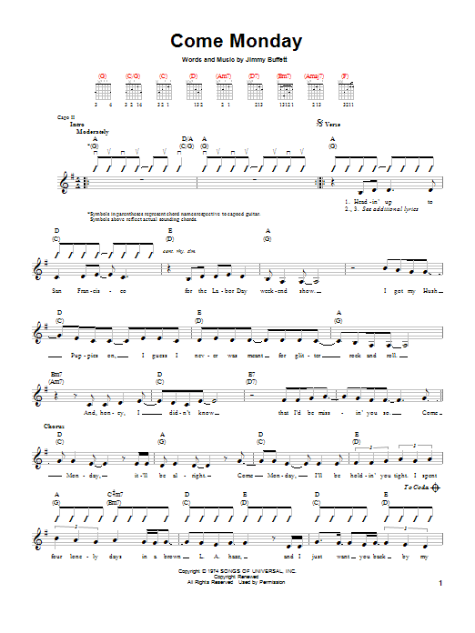 Tablature guitare Come Monday de Jimmy Buffett - Tablature guitare facile