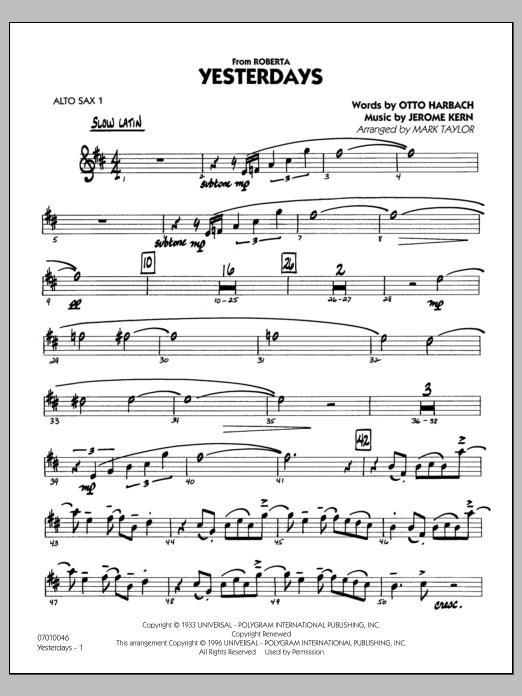 Yesterdays - Alto Sax 1 (Jazz Ensemble)