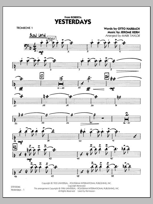 Yesterdays - Trombone 1 (Jazz Ensemble)