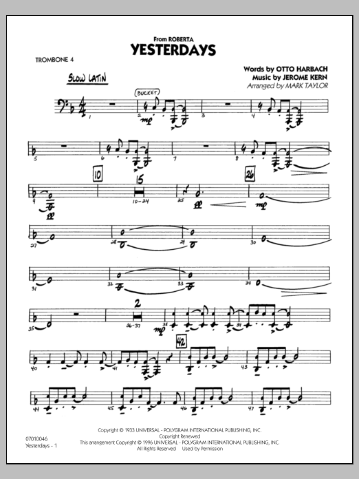 Yesterdays - Trombone 4 (Jazz Ensemble)