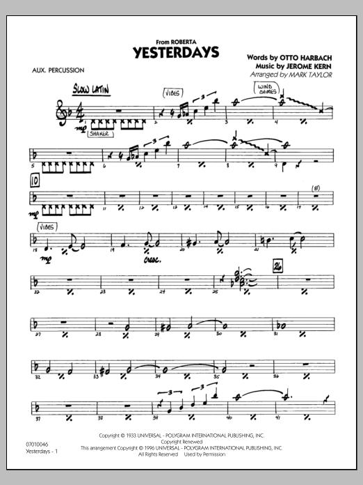 Yesterdays - Aux Percussion (Jazz Ensemble)