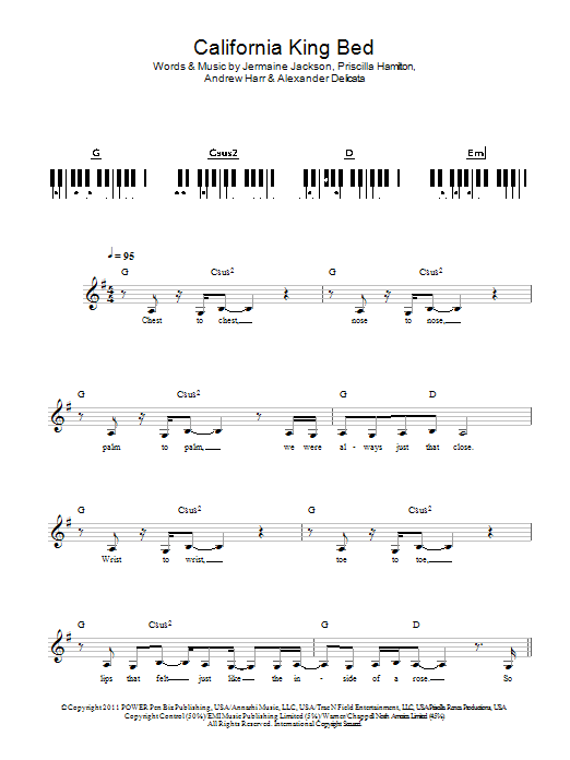 California King Bed - Sheet Music to Download