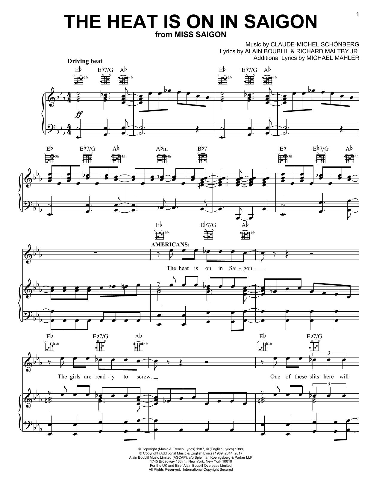 Piano Miss Saigon Vocal Selections
