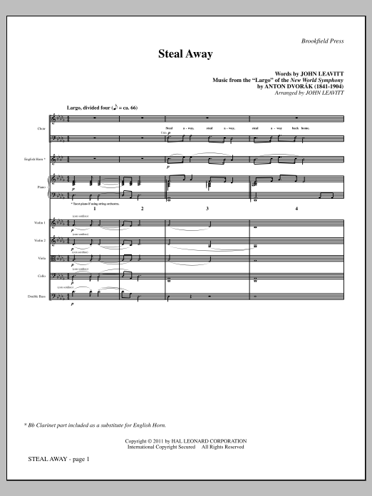 Steal Away (complete set of parts) sheet music for orchestra/band (chamber ensemble) by Antonin Dvorak and John Leavitt. Score Image Preview.