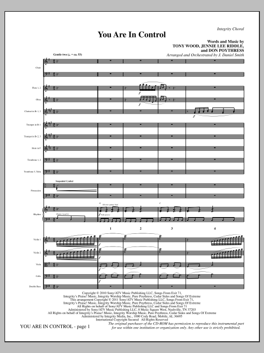 You Are In Control (complete set of parts) sheet music for orchestra/band (Orchestra) by J. Daniel Smith, Don Poythress, Jennie Lee Riddle and Tony Wood. Score Image Preview.