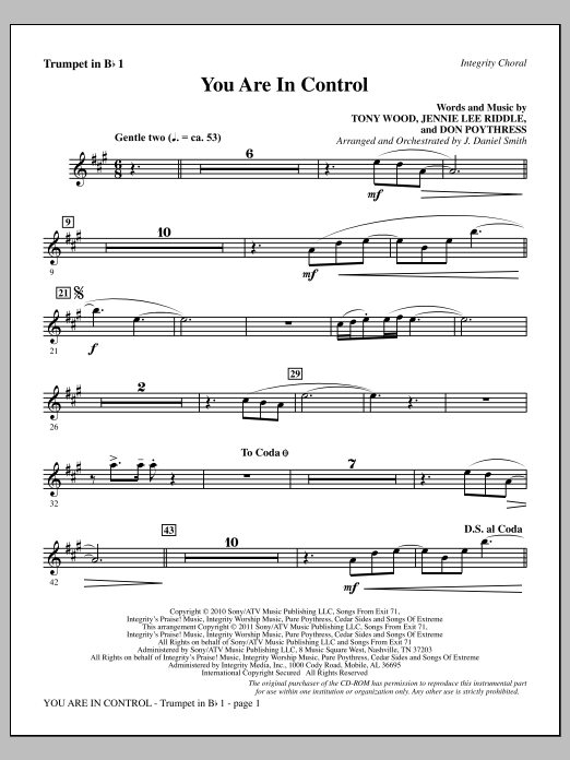 You Are In Control - Bb Trumpet 1 Sheet Music