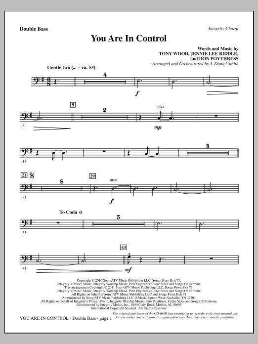 You Are In Control - Double Bass Sheet Music