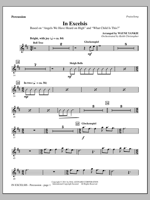 In Excelsis - Percussion Sheet Music