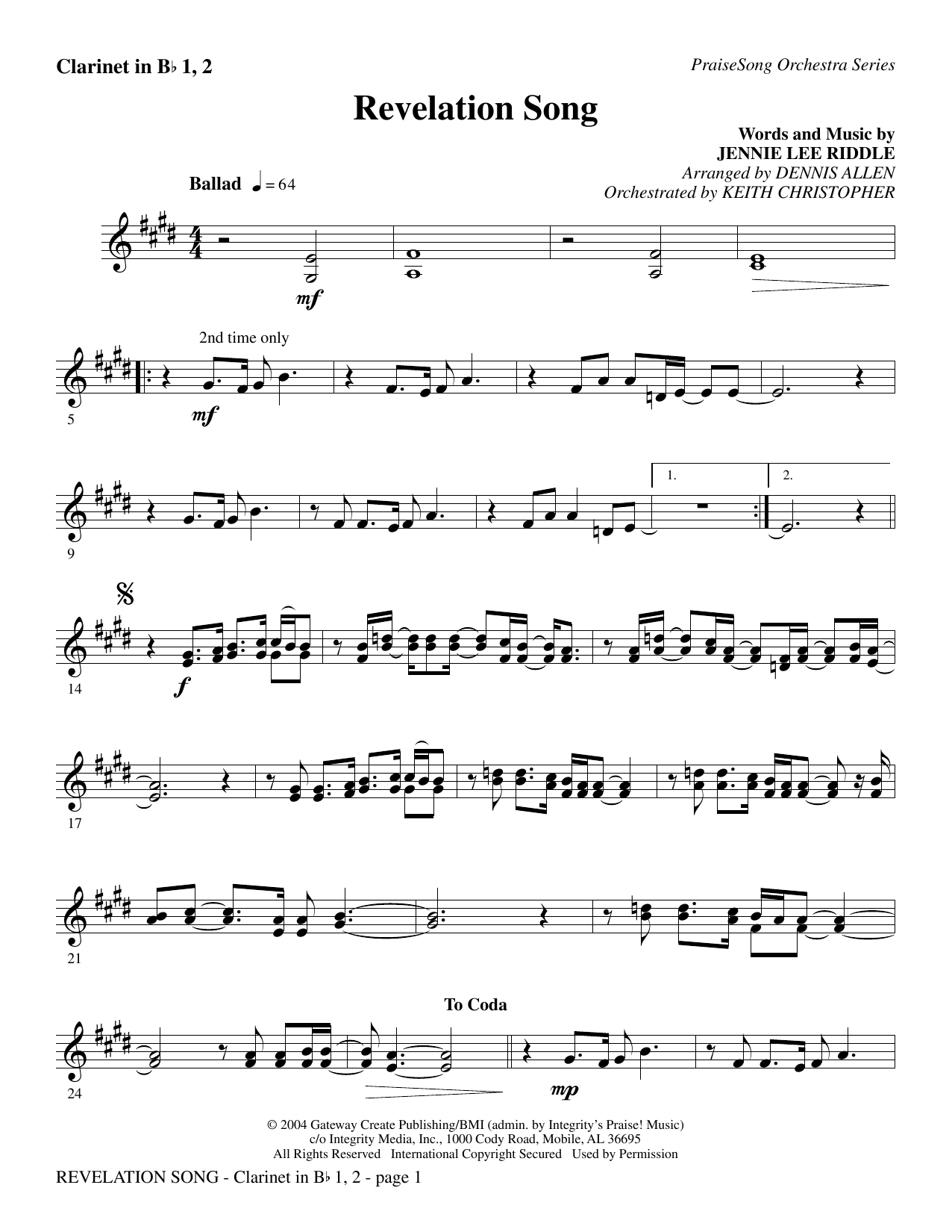 Revelation Song - Clarinet 1 & 2 Sheet Music