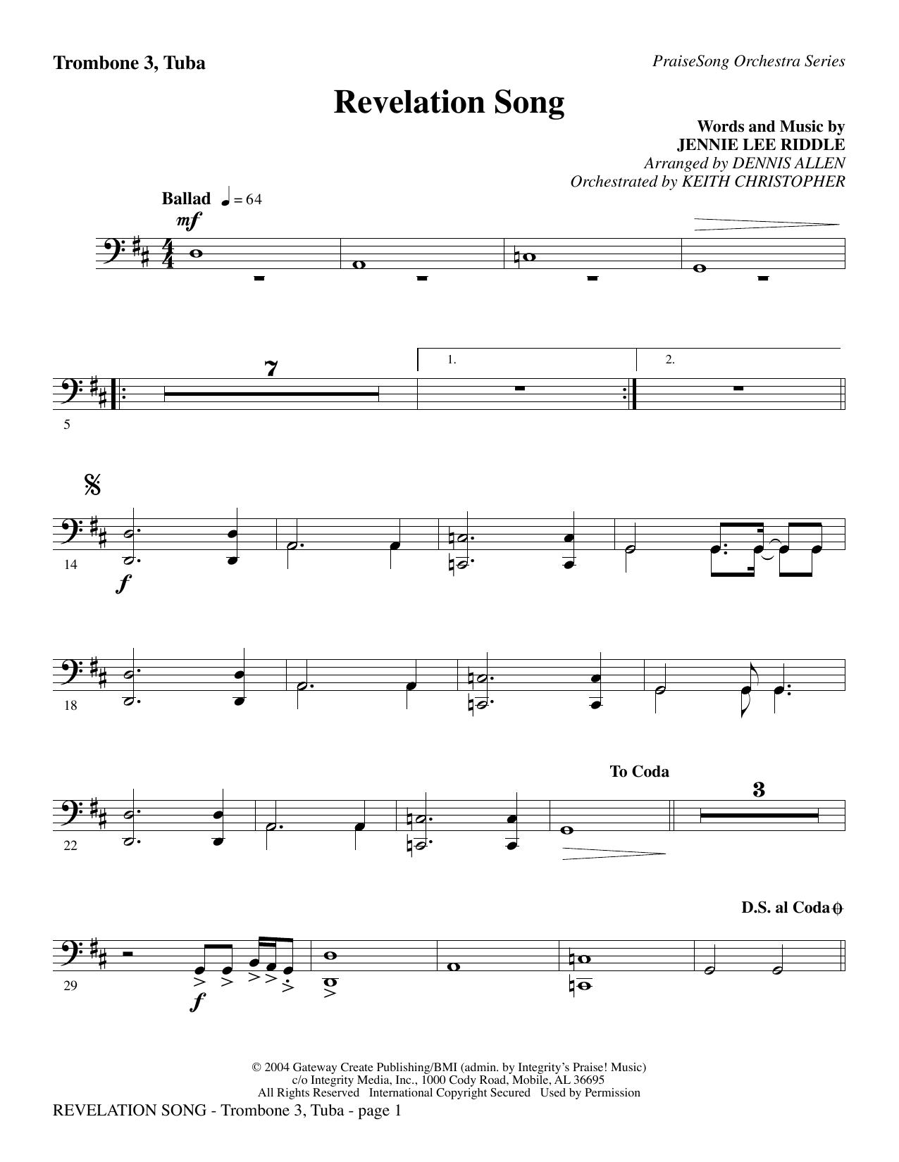 Revelation Song - Trombone 3/Tuba (Choir Instrumental Pak)