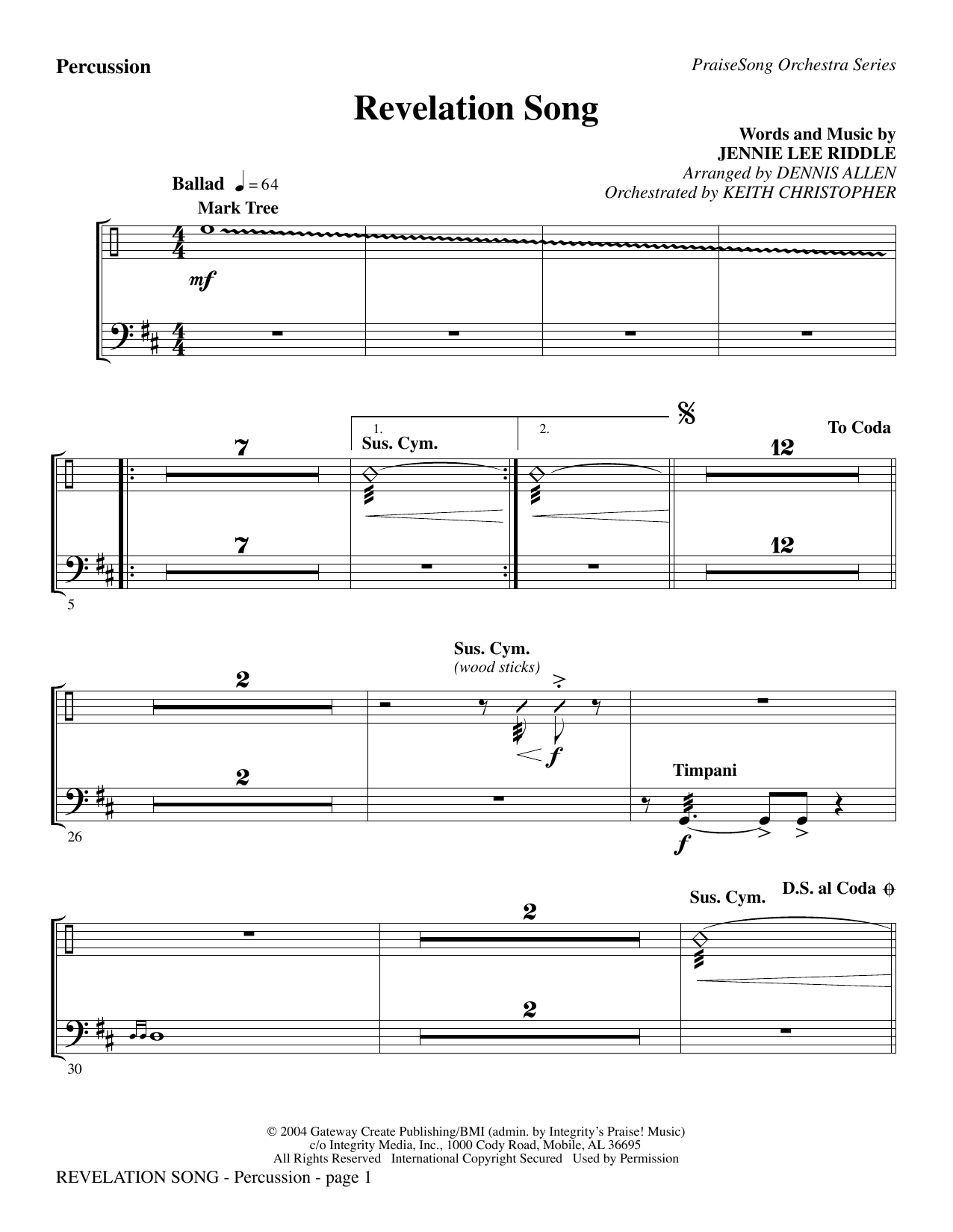 Revelation Song - Percussion Sheet Music