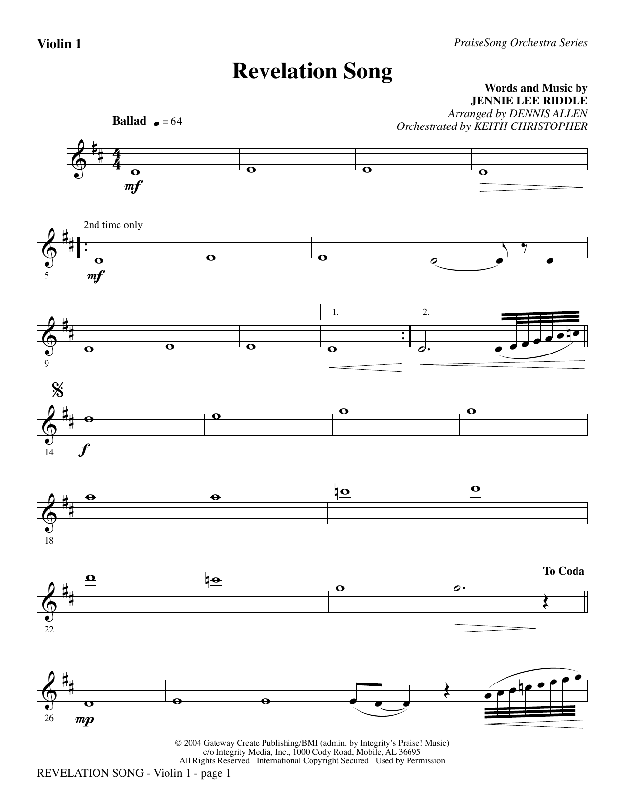 Revelation Song - Violin 1 Sheet Music