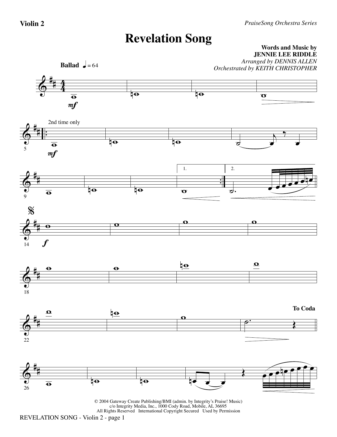 Revelation Song - Violin 2 Sheet Music