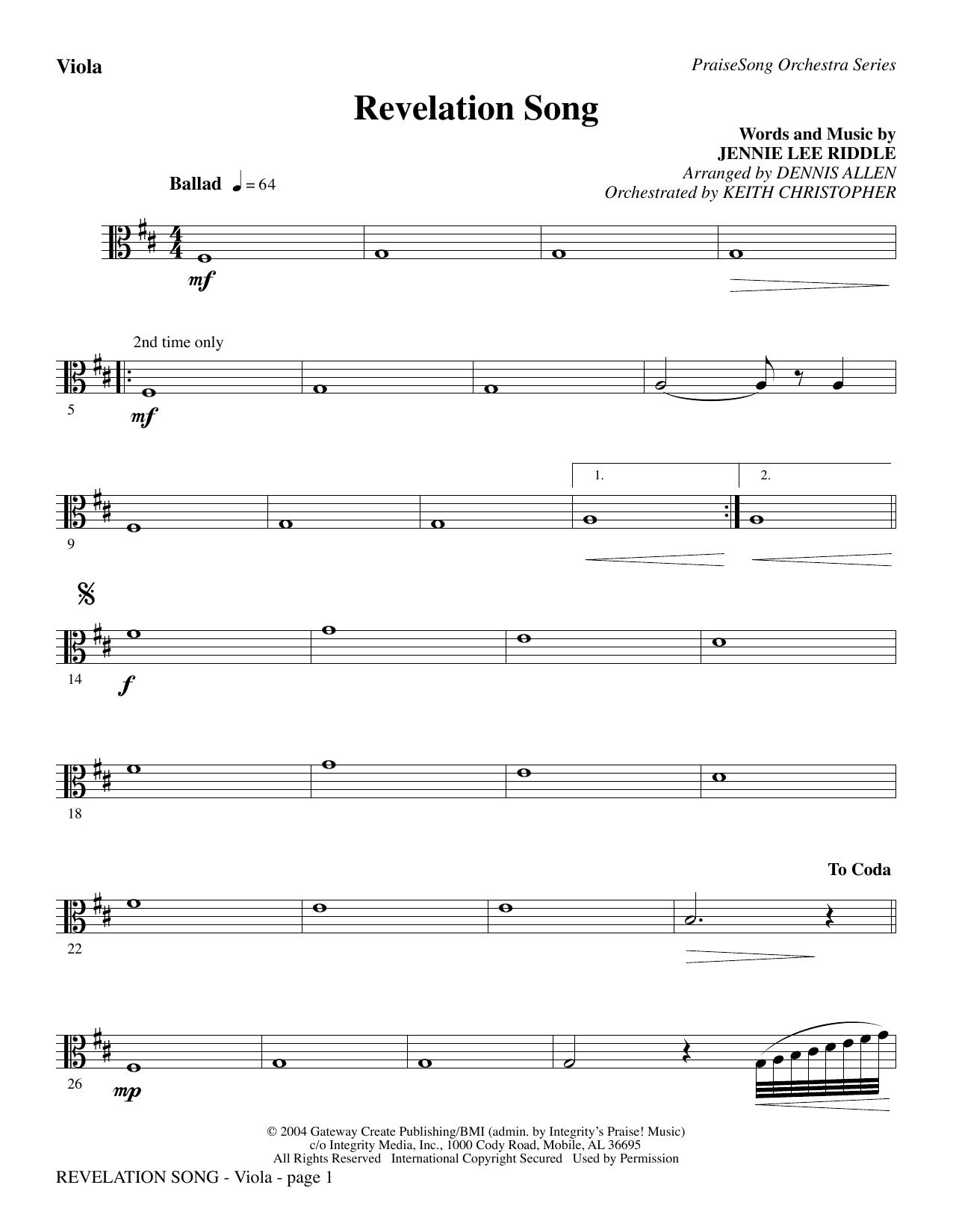 Revelation Song - Viola Sheet Music