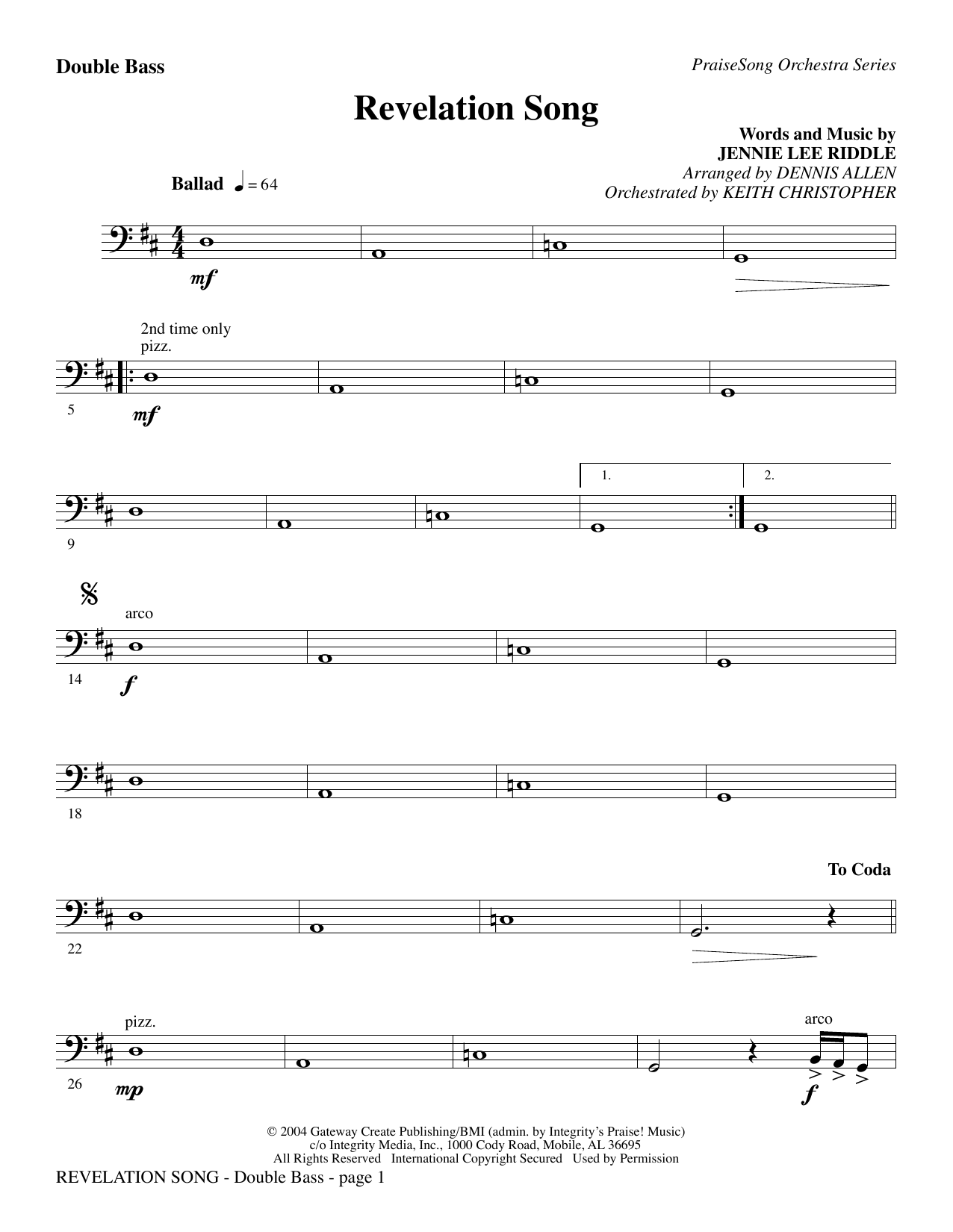 Revelation Song - Double Bass Sheet Music