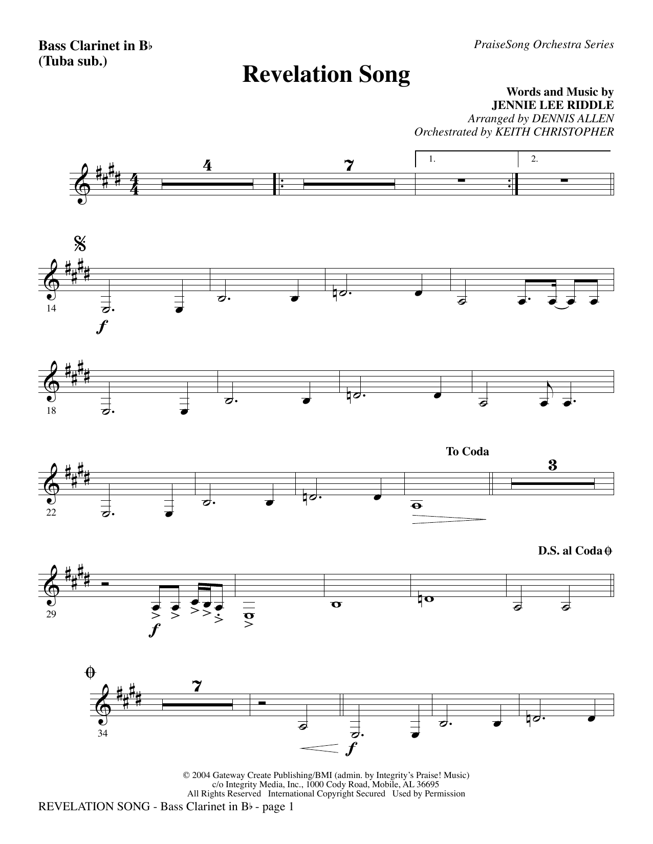 Revelation Song - Bass Clarinet (sub. Tuba) Sheet Music