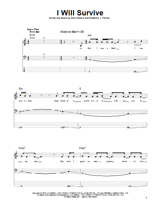 I Will Survive (Bass Guitar Tab)