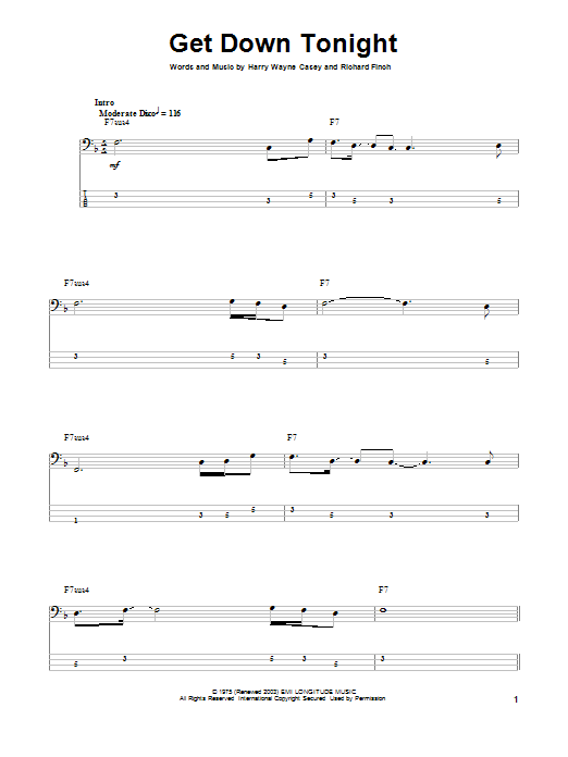 Tablature guitare Get Down Tonight de KC & The Sunshine Band - Tablature Basse