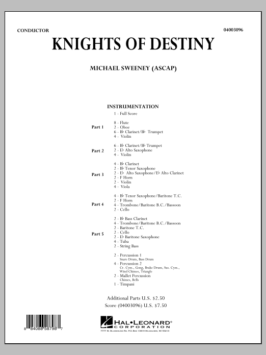 Knights Of Destiny (COMPLETE) sheet music for concert band by Michael Sweeney. Score Image Preview.