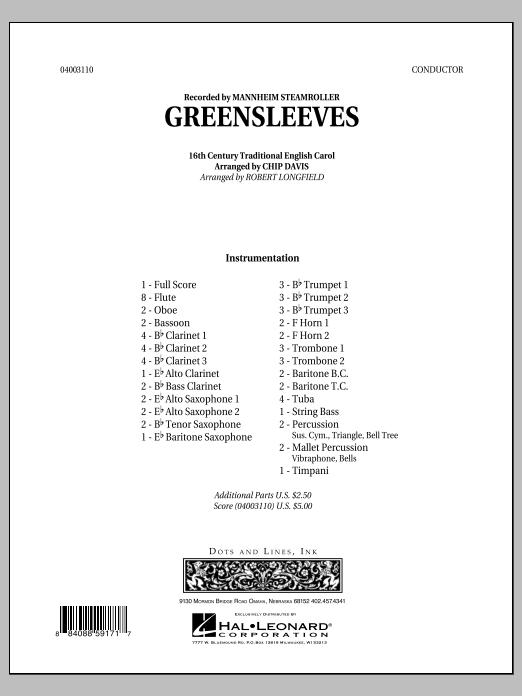 Greensleeves - Full Score (Concert Band)