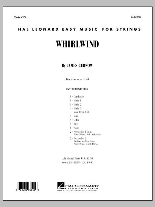 Whirlwind (COMPLETE) sheet music for orchestra by James Curnow. Score Image Preview.