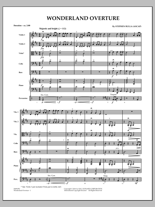 Wonderland Overture (COMPLETE) sheet music for orchestra by Stephen Bulla. Score Image Preview.