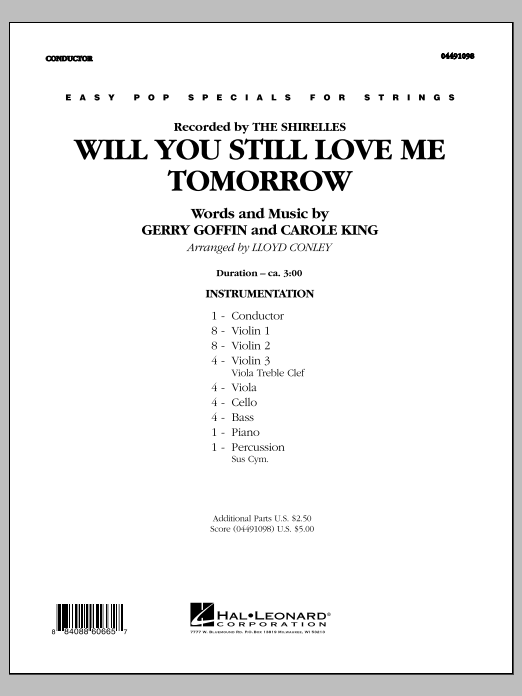 Will You Still Love Me Tomorrow (COMPLETE) sheet music for orchestra by Lloyd Conley, Carole King, Gerry Goffin and The Shirelles. Score Image Preview.