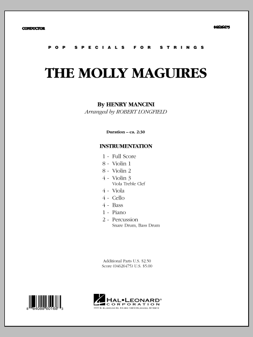The Molly Maguires (COMPLETE) sheet music for orchestra by Robert Longfield and Henry Mancini. Score Image Preview.
