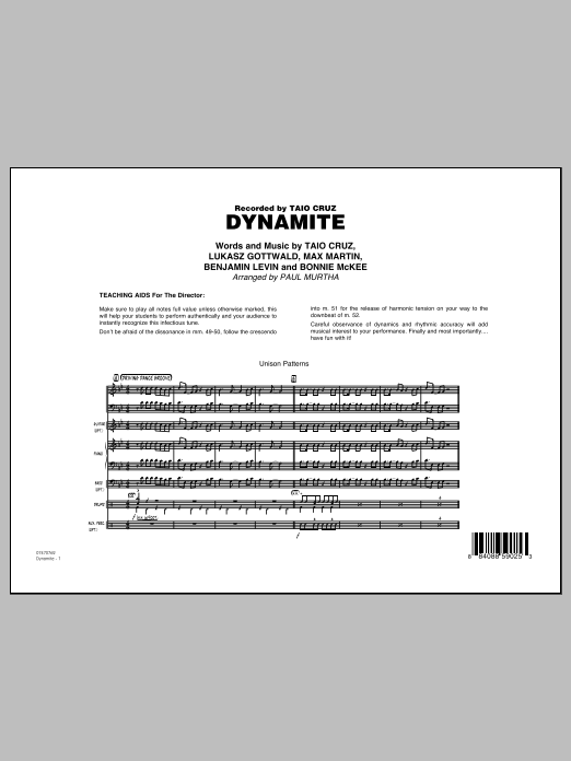 Dynamite (COMPLETE) sheet music for jazz band by Paul Murtha, Benjamin Levin, Bonnie McKee, Lukasz Gottwald, Max Martin and Taio Cruz. Score Image Preview.