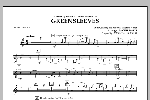 Greensleeves - Bb Trumpet 1 (Concert Band)
