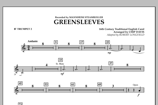Greensleeves - Bb Trumpet 2 (Concert Band)