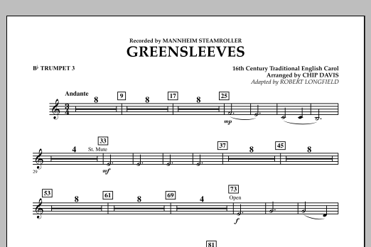Greensleeves - Bb Trumpet 3 (Concert Band)