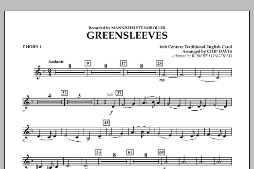 Greensleeves - F Horn 1 (Concert Band)