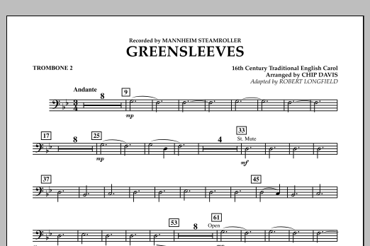 Greensleeves - Trombone 2 (Concert Band)