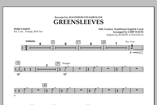 Greensleeves - Percussion (Concert Band)