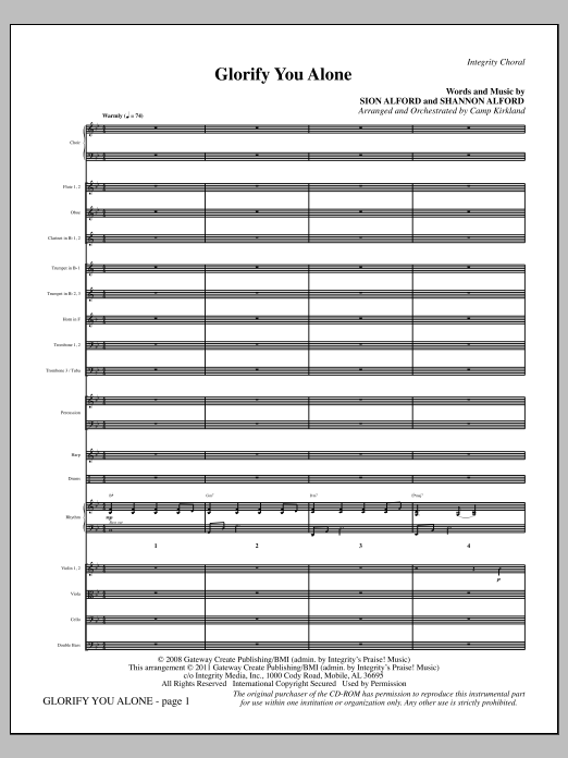 Glorify You Alone - Full Score Sheet Music