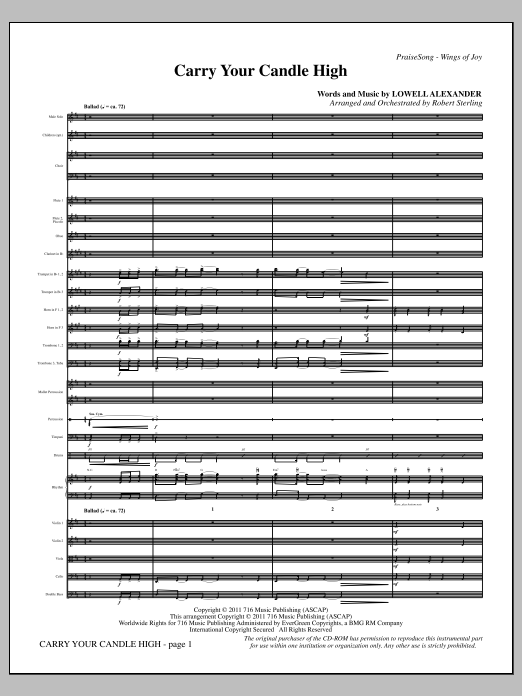 Carry Your Candle High (complete set of parts) sheet music for orchestra/band (Orchestra) by Lowell Alexander and Robert Sterling. Score Image Preview.
